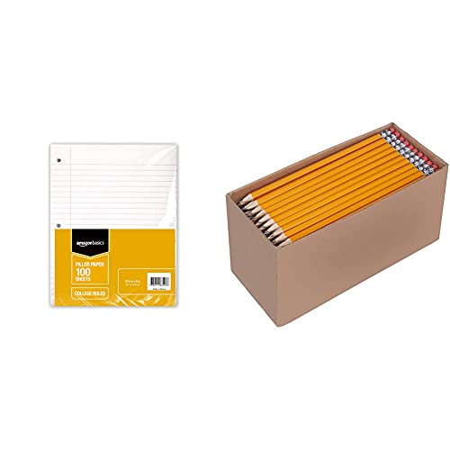 Amazon Basics Wide Ruled Loose Leaf Filler Paper, 100 Sheet, 10.5 x 8 Inch, (Pack of 6) & Woodcased #2 Pencils, Pre-sharpened, HB Lead, Box of 30