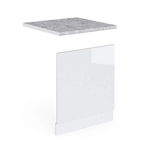 Vicco Küchenschrank Hängeschrank Unterschrank Küchenschränke Küchenunterschrank Arbeitsplatte, Möbel verfügbar in anthrazit und weiß (weiß mit Arbeitsplatte, Geschirrspülerblende 60 cm)
