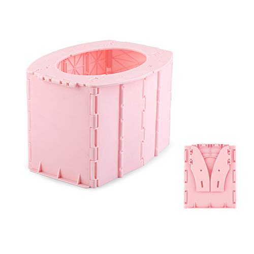 Kids Portable Folding Toilet Baby Commode Porta Potty Car Toilet Seat for Long Road Trips, Beach, Camping, Play Field, Train, Outdoors and Household Use (Pink)