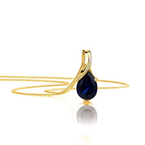 Orovi Halskette Damen Gelbgold 9 Karat/375 Gold Anhänger mit Saphir Kette 45 cm Schmuck für Frauen