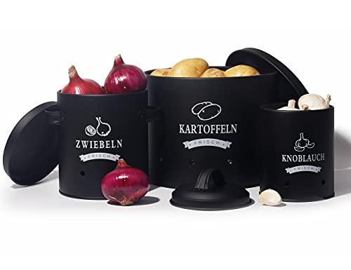 Sylando Aufbewahrung Kartoffeln Set,Vorratsdose Kartoffeln, Zwiebeltopf Kartoffeltopf Knoblauchtopf, Großer Vorratsbehälter aus Metall (Schwarz-Set)