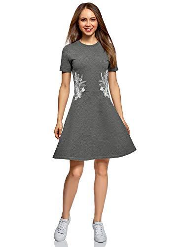 oodji Ultra Damen Tailliertes Kleid mit Reißverschluss und Stickerei, Grau, DE 36 / EU 38 / S