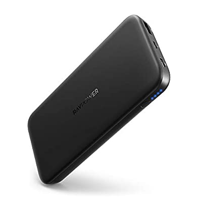 RAVPower Power Bank, PD Power Charger 10000mAh 18W 2-Port External Battery Pack Ultra-Thin 3A Output for Smartphone Tablet iPhone X/Xs Max/XR, Galaxy S9/S8, iPad Pro 2018 (Black)