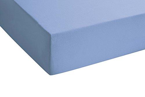 biberna 77144 Jersey-Stretch Spannbetttuch, nach Öko-Tex Standard 100, ca. 140 x 200 cm bis 160 x 200 cm, blau - 3