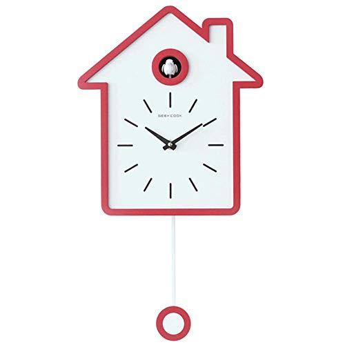 Modern Cuckoo Clock, Reloj de diseño Moderno, Péndulo, Hecho de Madera, Adecuado para Estudio, Lugar público, Oficina, Dormitorio, Sala de Estar, b