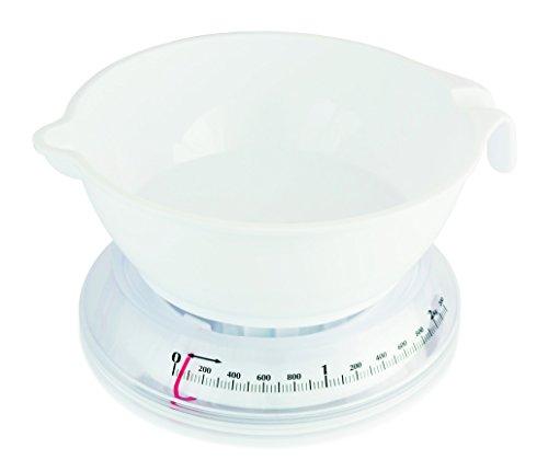 Terraillon 14225 T206, Mechanische Küchenwaage mit Schüssel (1 L), Manuelle Tara-Funktion, Bis 2 kg, Weiß, Kunststoff