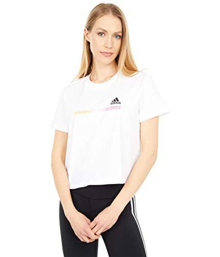 adidas Womens Gradient Logo Cropped T-Shirt White X-Large