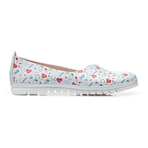 DrSoftStep Damen Schuhe | Medizinische Ballerinas | 37 | Weiße Leder | Dr MEDLight