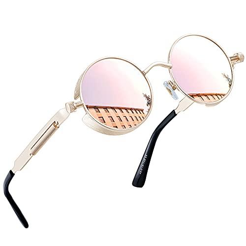 Joopin Polarizadas Redondas Gafas de sol Steampunk Retro Lennon Círculo Gafas de sol para Hombres y Mujeres Retro Rose