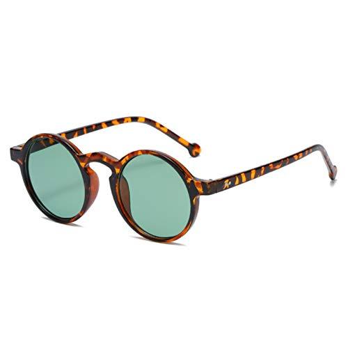 UKKD Gafas De Sol Para Mujer Gafas De Sol Redondas De Moda Mujeres Clásicos Vintage Punk Gafas Para Hombres Conduciendo Gafas Negras De Leopardo