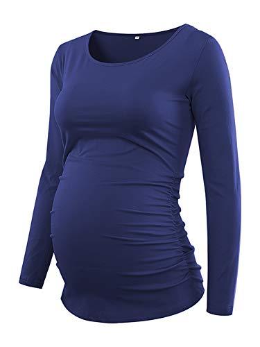 Love2Mi Damen Langarm Schwanger T-Shirt Umstandsshirt Umstandstop Schwangerschaft, Maineblau, M