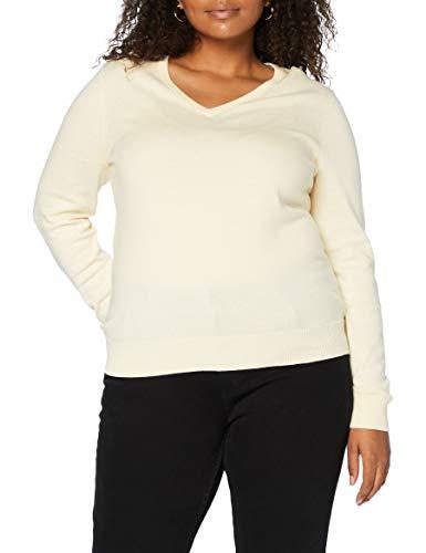 Amazon-Marke: MERAKI Baumwoll-Pullover Damen mit V-Ausschnitt, Elfenbein (Ivory), 44, Label: XXL