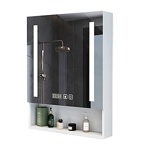 XIAOQIAO Gabinete de Espejo de Baño LED con Estantes de Almacenamiento Antivaho, Armario de Pared con Pantalla de Tiempo de Interruptor de Sensor táctil