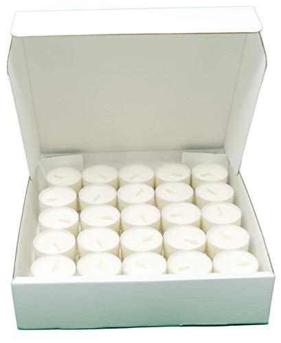 Candeline compostabili in Cera vegetale di Colza, 4 Ore di combustione, Confezione da 75 Candele, Non profumate (Foglio)