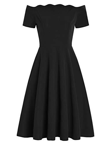 Pintage Women's Scalloped Party Dress Off Shoulder Cocktail Dress S Black