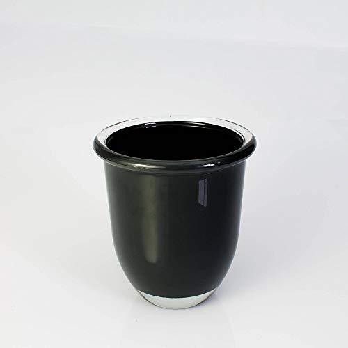 INNA-Glas Pot à orchidée - Vase Rond en Verre Fynn, Gris foncé, 17cm, Ø 15,5cm - Photophore en Verre - Vase Design