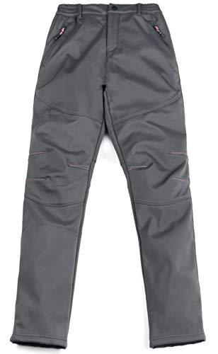 HAINES Outdoorhose Damen Wanderhose Wasserdicht Softshellhose Gefüttert Hose Winter Trekkinghose Funktionshose Grau Gr.EU-M/Asia-XL