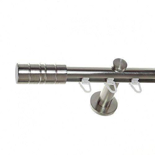 BASIT Innenlauf Gardinenstange Edelstahl Look 20mm Wandträger 1-läufig Zylinder, Länge wählbar H30 E34, Länge:180 cm