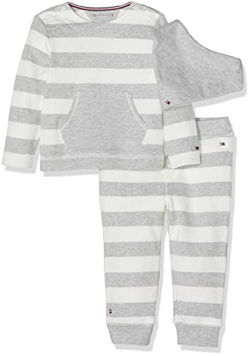 Tommy Hilfiger Unisex Baby Stripe 3 Piece GIFTBOX Bekleidungsset, Grau (Grey Heather 004), 56