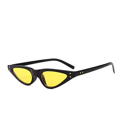 FRGTHYJ Montura de Ojo de Gato Salvaje Gafas de Sol Revista de Moda Disparos en la Calle Gafas de Sol de Verano Antideslumbrante Anti-UV400 Amarillo