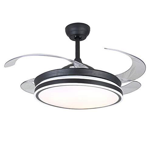 Ventilador de techo con iluminación y control remoto Negro 3 luces de ventilador de luz 36W Luz de techo LED Ala plegable 42 pulgadas Lámpara de techo moderna para dormitorio sala de estar comedor