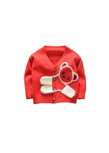 FTSUCQ Boys/Girls Cute Cartoon Printed Knitted Cardigan Sweater Shirts Top Red