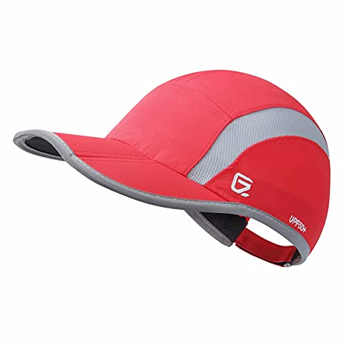 GADIEMKENSD Adjustable Quick Drying Reflective Foldable Running Cap Outdoor Sports Hat 40+ UPF Inhibit UV Mesh Race Performance Water Repellency Baseball Cap (Red)