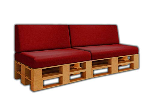 Pack Ahorro 2 Asientos + 2 Respaldos de Cojines para Sofa de palets / europalet | Desenfundable | Interior y Exterior | Color Vino | Espuma de Alta Densidad.