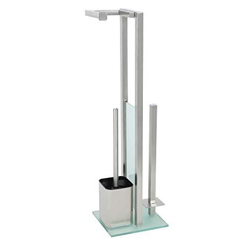Edaygo WC Garnitur Toilettengarnitur Set, Freistehend, Edelstahl, inkl. Ersatzrollenhalter und 2 Austausch Klobürstenköpfe, 20 x 20 x 70 cm
