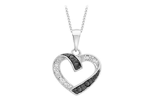Carissima Gold 9 ct White Gold 0.10 ct Black and White Diamond Heart Pendant on Chain Necklace of 46 cm/18 inch