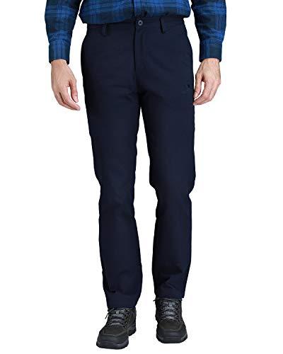 Camel Crown - Pantalones de trabajo entallados y rectos de gabardina para hombre., Azul marino, 30W x 31L