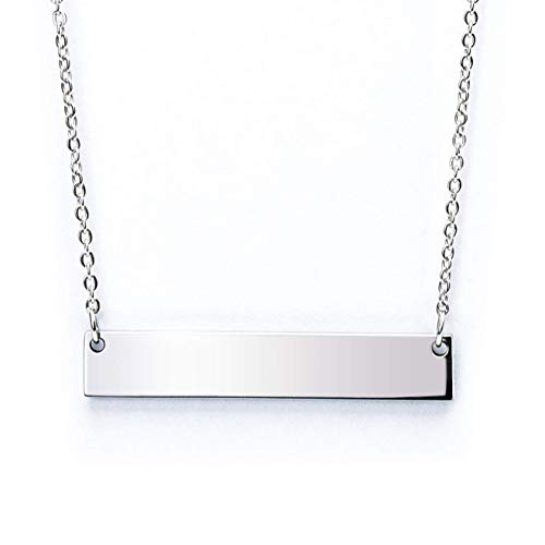 Caramel Sweet Life Chic Polished Stainless Steel Silver Tone Horizontal Bar Necklace Pendant 5 Colors with Chain