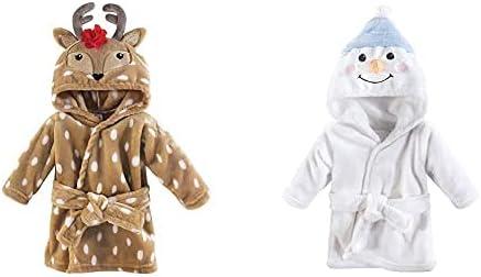 Hudson Baby Girl Plush Animal Face Bathrobe 2-Pack, Reindeer Snowman