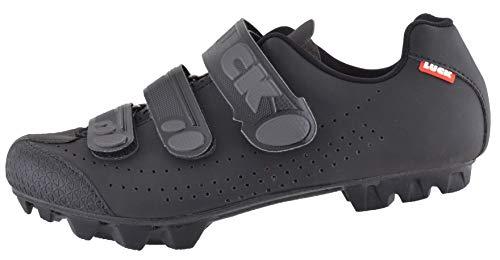 LUCK Matrix Revolution. Zapatillas Ciclismo MTB. Hombre, Mujer. Suela de Carbono Rígida y Ligera. Triple Velcro para un Ajuste Zapatos Ciclismo montaña Negro (43 EU, Negro)