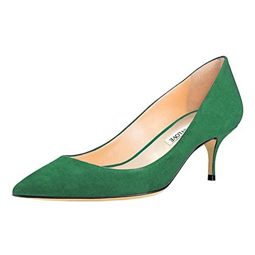 JOY IN LOVE Women's Shoes Low Heels Pointy Toe Kitten Heel Daily Pumps Suede-Green 7 US