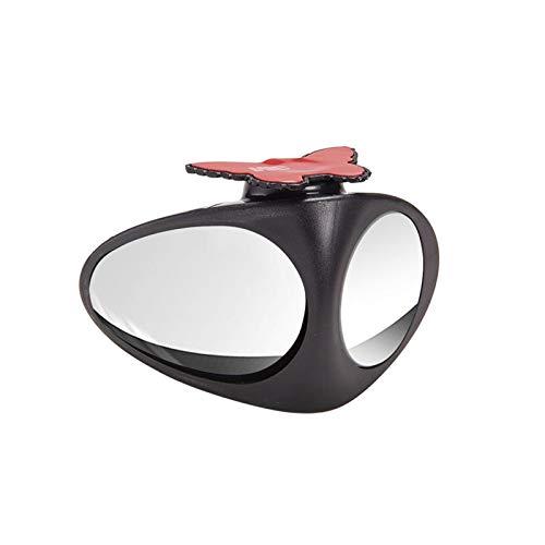 PREPP 2 espejos retrovisores negros para coche con visión de rueda delantera izquierda y derecha, doble ángulo ancho, ajustable, convexos (color negro)