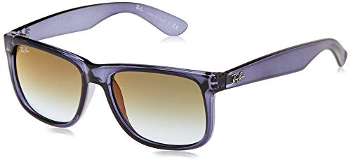 Ray-Ban RB4165 Justin Rectangular Sunglasses, Transparent Blue/Blue Gradient Green Mirror Red, 54 mm