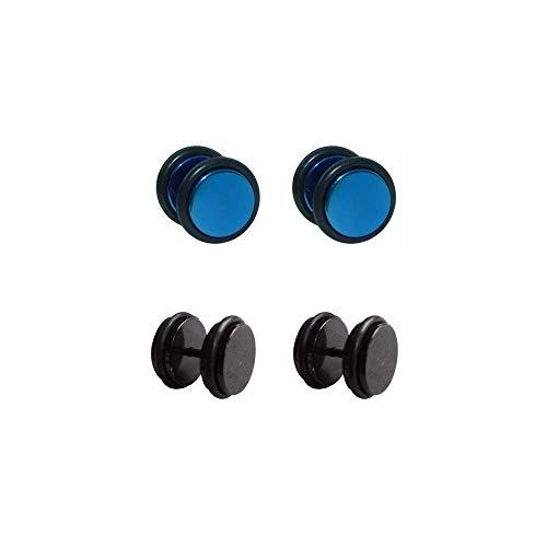 Piercing Deni 4 dilataciones falsas de acero inoxidable 2 negras y 2 azules 8mm