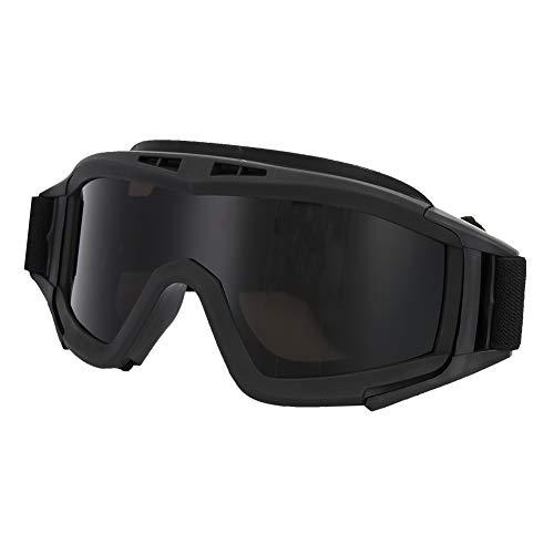 SANON Motorradbrille Taktische Schutzbrille Airsoftbrille mit 2 Austauschbaren Mehrfachlinsen zum Schießen/Paintball/Wandern/Skifahren/Reiten (Schwarz)