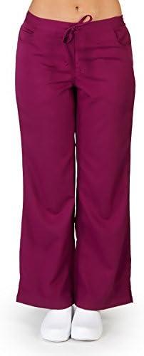 Ultra Soft Brand Scrubs Premium Womens Petite Junior Fit 5 Pocket Scrub Pant Burgundy 38126 product image