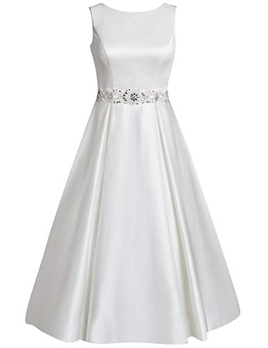 HUINI Brautkleider Kurz A-Linie Satin Hochzeitskleider Standesamt Kleider Damen U-Boot Ärmellos Applikationen Perlen Size 38