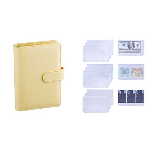 Antner A6 PU Leather Notebook Binder (Yellow) Bundle   12 Pieces (3 Types) A6 6-Holes Binder Pockets