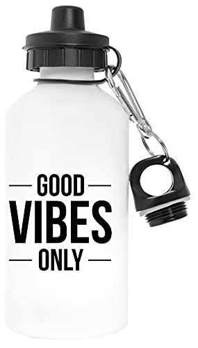 Good Vibes Only Libre de Contaminantes Blanco Botella De Agua Aluminio Para Exteriores Pollutant Free White Water Bottle Aluminium For Outdoors