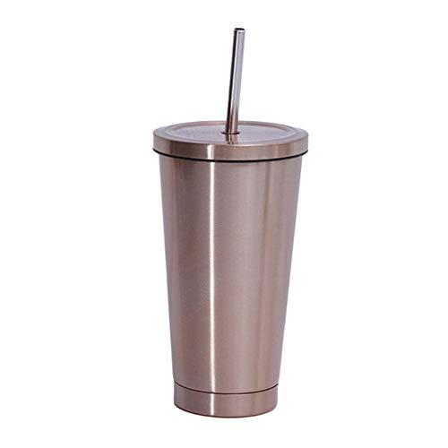 JVSISM Edelstahl Kaffee Becher 500Ml Thermo Becher mit Deckel Bier KrüGe für Tee Tasse Isolier Flasche Metall Becher Trink Halm Reise Becher