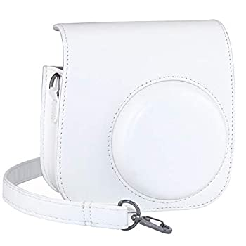 Blummy PU Leather Instax Mini 8 Camera Case for Fujifilm Instax Mini 8/ Mini 8+/ Mini 9 Instant Camera with Adjustable Strap and Pocket  White
