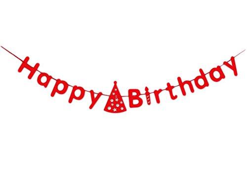 Jingyuu Guirlande de Fanions Happy Birthday Letter Bannière Rouge Banderole Décoration pour Fête d'anniversaire