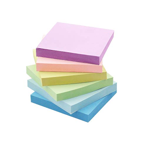 Early Buy Sticky Notes 3x3 Self-Stick Notes 6 Pastel Color 6 Pads, 100 Sheets/Pad