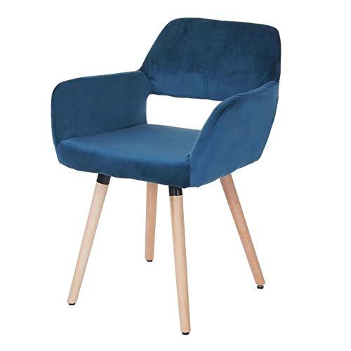 Mendler Esszimmerstuhl HWC-A50 II, Stuhl Küchenstuhl, Retro 50er Jahre Design ~ Samt, Petrol, helle Beine