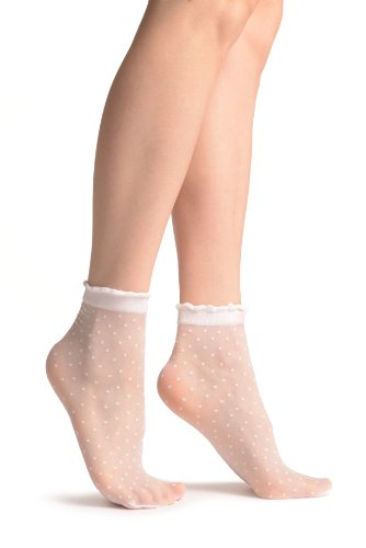 LissKiss Small Polka Dots And Ro&ed Trim Top White Socks Ankle High 15 Den - Weiß Socken Einheitsgroesse (37-42)