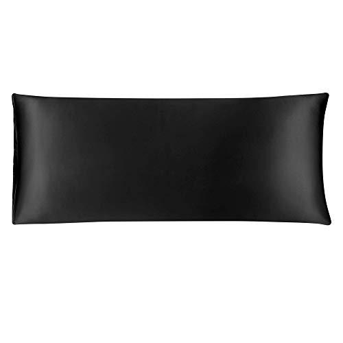 YeVhear - Funda de cojín para el cuerpo de 20 x 48 pulgadas, funda de cojín de cuerpo de satén sedoso, color negro para el cabello, antiarrugas, resistente al lavado